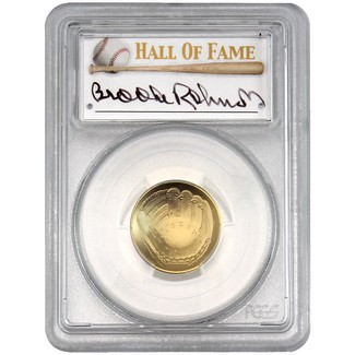 2014-W $5 UNC Gold 'Legends of Baseball' PCGS MS69 Brooks Robinson Signed