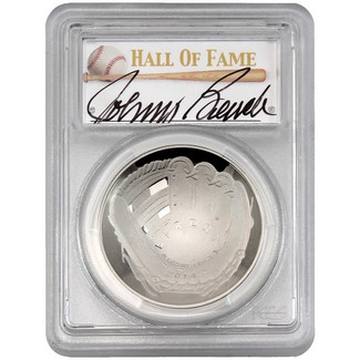 2014-P $1 Proof Silver 'Legends of Baseball' PCGS PR69 DCAM Johnny Bench Signed
