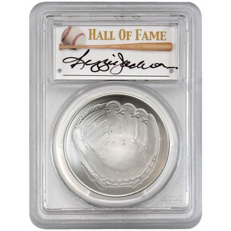 2014-P $1 UNC Silver 'Legends of Baseball' PCGS MS70 Reggie Jackson Signed
