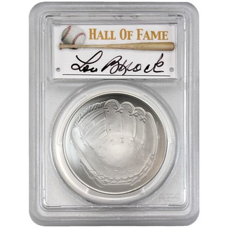 2014-P $1 UNC Silver 'Legends of Baseball' PCGS MS70 Lou Brock Signed