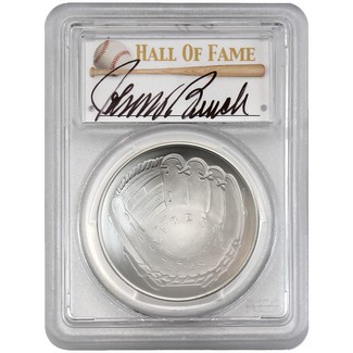 2014-P $1 UNC Silver 'Legends of Baseball' PCGS MS70 Johnny Bench Signed
