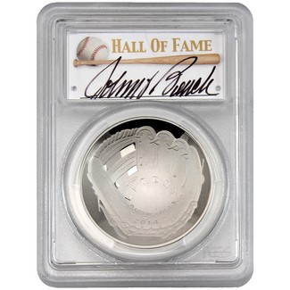 2014-P $1 Proof Silver 'Legends of Baseball' PCGS PR70 DCAM Johnny Bench Signed