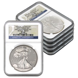 2011 Silver Eagle 25th Anniversary Set NGC 69