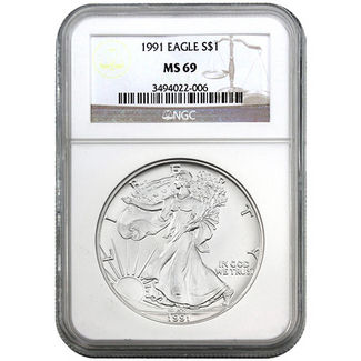 1991 Silver Eagle NGC MS69