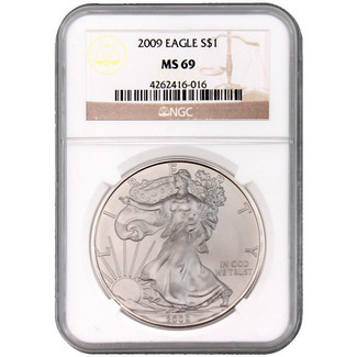 2009 Silver Eagle NGC MS69 Brown Label