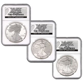 2006 3 Piece Silver Eagle 20th Anniversary Set NGC 70