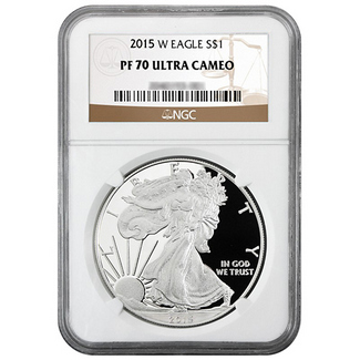 2015 W Proof Silver Eagle NGC PF70 Ultra Cameo Brown Label
