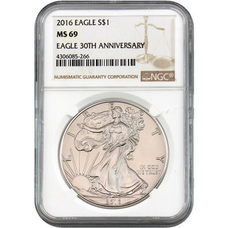 2016 Silver Eagle NGC MS69 Brown Label