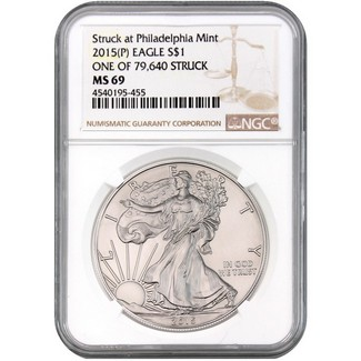2015 (P) Silver Eagle NGC MS69 One of 79,640 Struck Brown Label