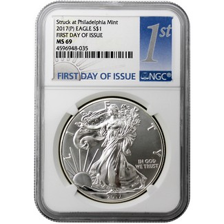 2017 (P) Silver Eagle Struck at Philadelphia NGC MS69 First Day Issue