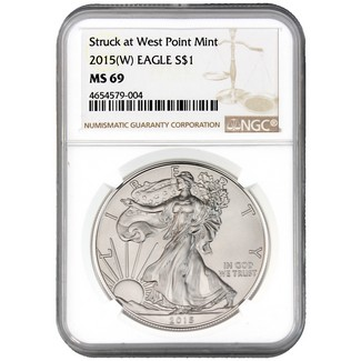 2015 (W) Silver Eagle Struck at West Point NGC MS69 Brown Label