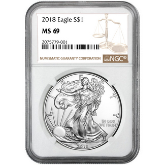 2018 Silver Eagle NGC MS69 Brown Label