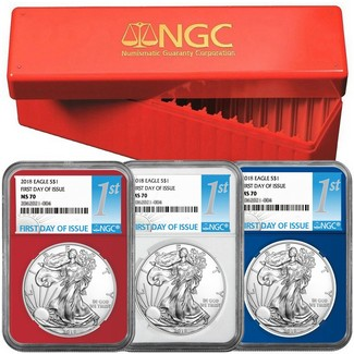 2018 Red, White, & Blue Silver Eagle Set NGC MS70 First Day Issue