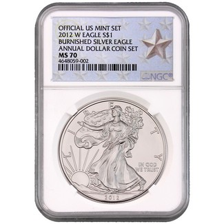 2012 W Burnished Silver Eagle Annual Dollar Set NGC MS70 Silver Star Label