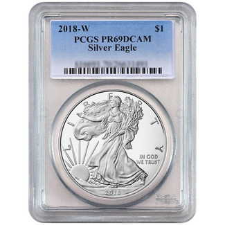 2018 W Proof Silver Eagle PCGS PR69 DCAM Blue Label