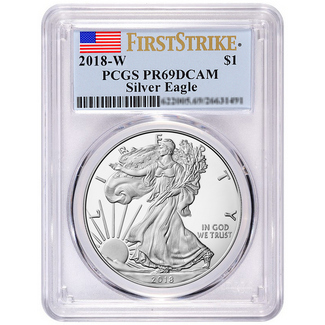 2018 W Proof Silver Eagle PCGS PR69 DCAM First Strike Flag Label