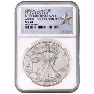 2016 W Burnished Silver Eagle Annual Dollar Set NGC MS70 Silver Star Label