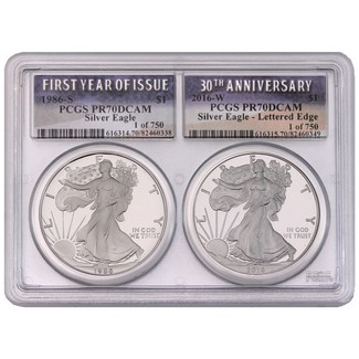 1986 S FYI and 2016 W 30th Ann Silver Eagles PCGS PR70 Multiholder