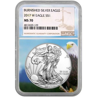 2017 W Burnished Silver Eagle NGC MS70 Brown Label Eagle Core