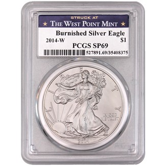 2014 W Burnished Silver Eagle PCGS SP69 'Struck at West Point' Label