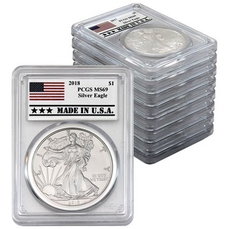 2010-2018 Silver Eagles PCGS MS69 Flag - Made in USA Labels