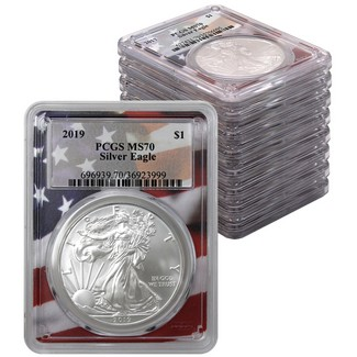 2010-2019 Silver Eagles PCGS MS70 Flag Picture Frames