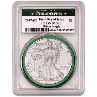 2017 (P) Silver Eagle 'Struck at Philadelphia' PCGS MS70 First Day Issue Philly Label