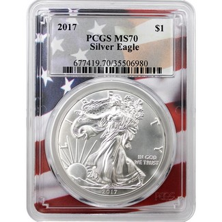 2017 Silver Eagle PCGS MS70 Flag Picture Frame
