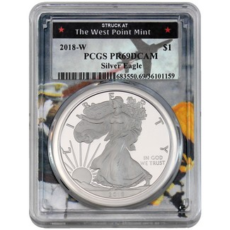 2018 W Proof Silver Eagle PCGS PR69 DCAM West Point Picture Frame