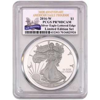 2016 W 'Limited Edition Set' Silver Eagle 30th Anniversary Lettered Edge PCGS PR70 DCAM