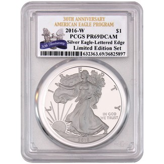2016 W 'Limited Edition Set' Silver Eagle 30th Anniversary Lettered Edge PCGS PR69 DCAM