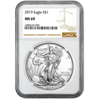 2019 Silver Eagle NGC MS69 Brown Label