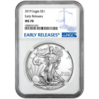 2019 Silver Eagle NGC MS70 ER Blue Label