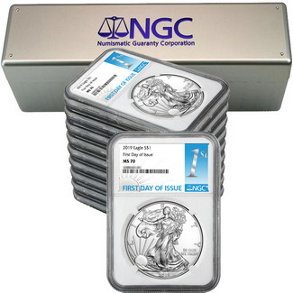2019 Silver Eagle NGC MS70 FDI White Core 1st Label (10 count) + NGC Box