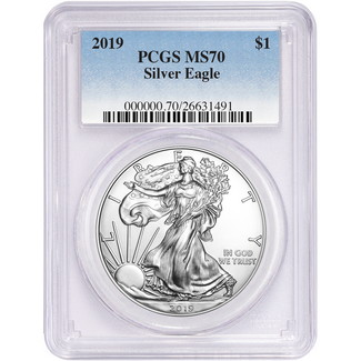 2019 Silver Eagle PCGS MS70 Blue Label