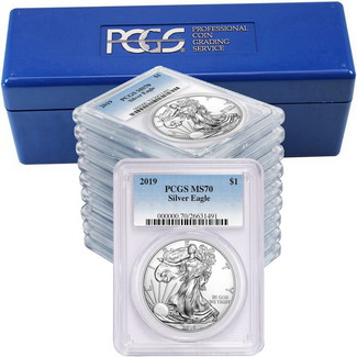 2019 Silver Eagle PCGS MS70 Blue Label (10 count) + PCGS Box