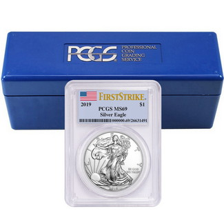 2019 Silver Eagle PCGS MS69 FS Flag Label (20 count) + PCGS Box
