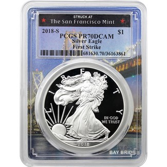 2018 S Silver Eagle PCGS PR70 DCAM First Strike Bridge Picture Frame