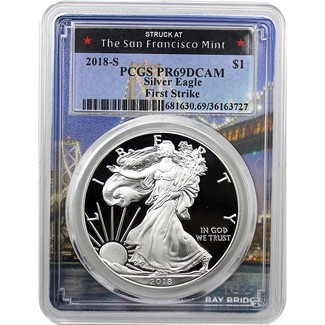 2018 S Silver Eagle PCGS PR69 DCAM First Strike Bridge Picture Frame