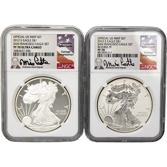 2012 San Francisco 75th Anniversary 2 Coin Set NGC 70 Mike Castle Signed
