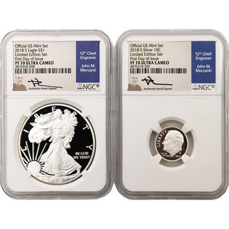 2018 S 'Limited Edition Set' Proof Silver Eagle NGC PF70 Ultra Cameo First Day Issue Mercanti Signed