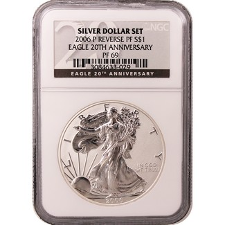 2006 P Reverse Proof Silver Eagle NGC PF69 20th Anniversary Label