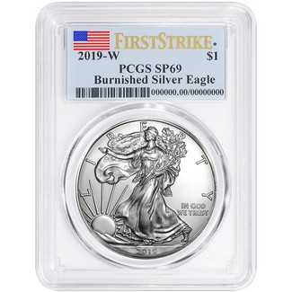 2019 W Burnished Silver Eagle PCGS SP69 First Strike Flag Label