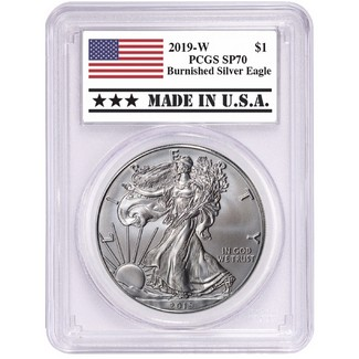 2019 W Burnished Silver Eagle PCGS SP70 MADE IN U.S.A. Label