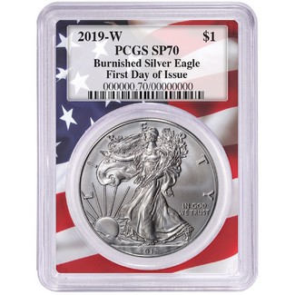 2019 W Burnished Silver Eagle PCGS SP70 First Day Issue Flag Picture Frame
