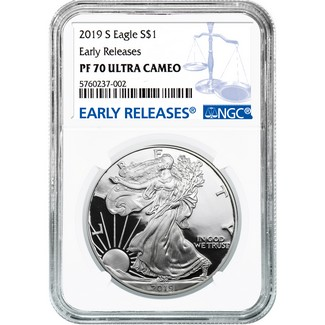 2019 S Proof Silver Eagle NGC PF70 Ultra Cameo Early Releases Blue Label