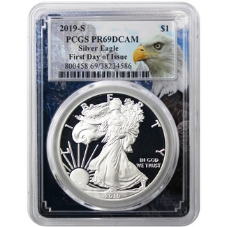 2019 S Proof Silver Eagle PCGS PR69 DCAM First Day Issue Eagle Picture Frame