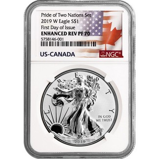 2019 W Enhanced Reverse Proof Silver Eagle NGC PF70 FDI The Pride of Two Nations U.S. Set