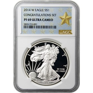 2014 W Silver Eagle NGC PF69 Ultra Cameo Congratulations Set Gold Star Label