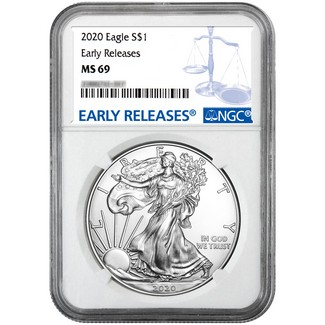 2020 Silver Eagle NGC MS69 Early Releases NGC Blue Label